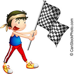 An athlete holding a flag - Illustration of an athlete...