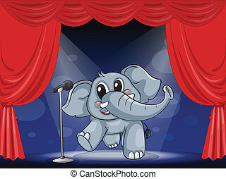 An elephant at the stage