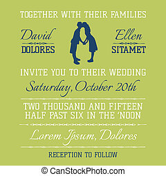 Wedding Invitation Card - Kissing Couple Theme - in vector