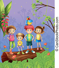Children with one colorful parrot in the forest -...