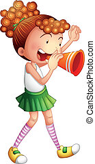 A girl with a noise maker - Illustration of a young girl...