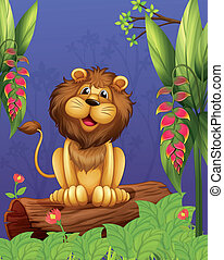 A lion sitting above a trunk - Illustration of a lion...