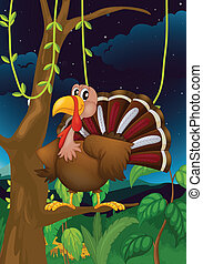 A turkey on a branch of a tree - Illustration of a turkey on...