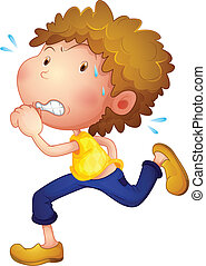 A sweaty young man - Illustration of a sweaty young man on a...