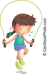 A little girl playing skipping rope - Illustration of a...