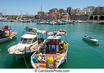 Heraklion harbour Crete, Greece - Boats in the old port of...