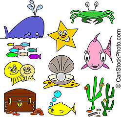 Sea Life Cartoons - Selection of sea life clip art cartoons...