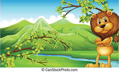 An angry lion in the riverbank - Illustration of an angry...