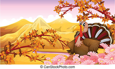A turkey near the mountain - Illustration of a turkey near...