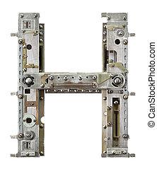 Metal letter - Industrial metal alphabet letter H