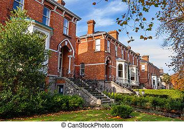 Dublin houses, Ireland - Typical brick houses in Dublin,...
