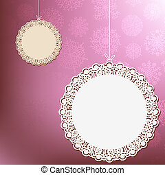Red lace ornament card.  + EPS8