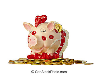 Amusing piggy bank with golden coin isolated