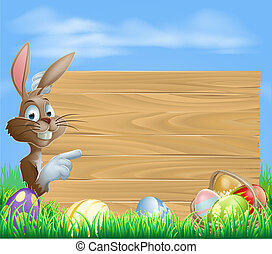 Easter bunny and Eggs with wooden s