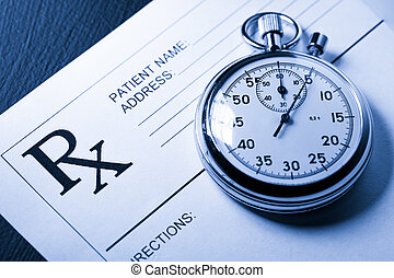 Blank patient list and stopwatch