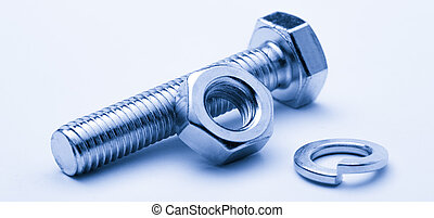 Screw bolts and nuts on white