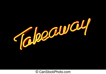 take away neon sign - illuminated neon sign advertising take...