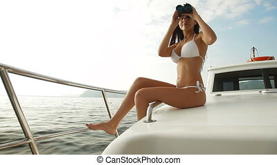Pretty Captain With Binoculars On a Bay Cruise