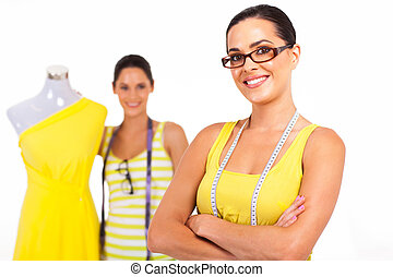 two confident fashion designers portrait on white