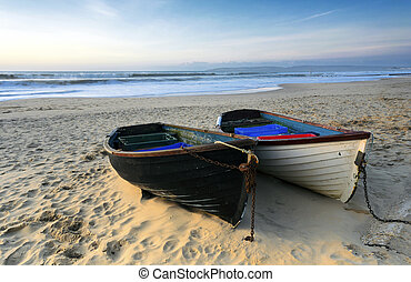 Fishing Boats on the Beach - Fishing boats on a sandy beach...