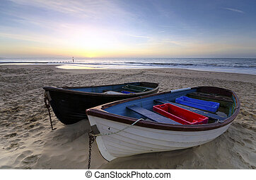 Fishing Boats on a Sandy Beach - Fishing boats on the sand...