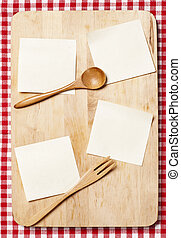 stickers on wooden background - stickers on wooden board for...