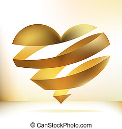 Golden heart on beidge. + EPS8 - Golden heart on a beidge...