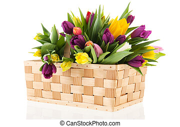 Basket tulips - Basket full with bouquet colorful tulips
