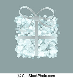 Card with present box from snowballs bow. + EPS8
