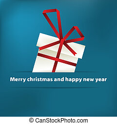 Blue christmas card with gift. + EPS8