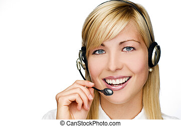 headset - young blond woman with headset close up