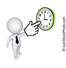 Small person pointing to clock - 3d small person pointing to...