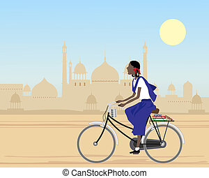 going to school - an illustration of an asian schoolgirl on...