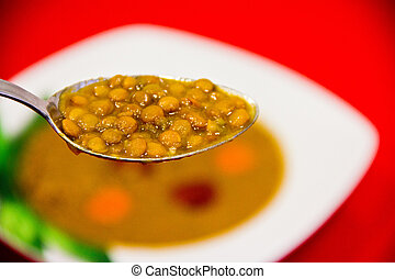 lentils - plate of lentils with vegetables