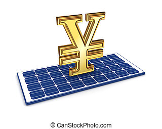 Yen symbol on solar batteryIsolated on white background3d...