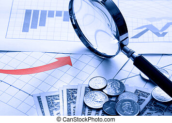 Business Chart - Business concept Magnifying glass and money...