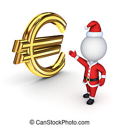 Santa with a symbol of dollarIsolated on white background3d...