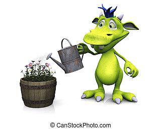 Cute cartoon monster watering flowers.