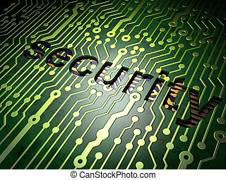 Privacy concept: circuit board with word Security