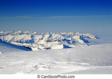 Swiss Mountain Range - Swiss mountain range as viewed from...