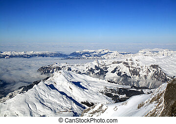 Swiss Alpine Mountain - Mountain range of the Swiss Alps as...