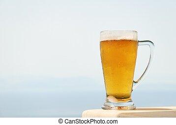 Glass mug of cold beer
