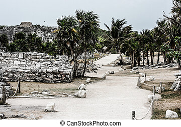 Ancient Mayan Architecture and Ruins located in Tulum, Mexico off the Yucatan Peninsula