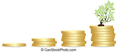 gold coins and plant