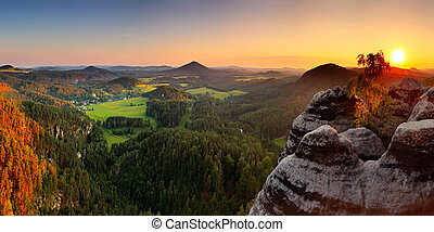 Sunset in mountain with sandstone - Saxony