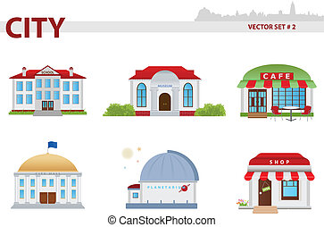 Public building. Set 2. - Public building cartoon. Set 2....