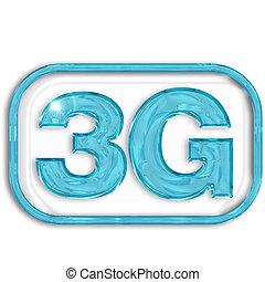 3G blue symbol isolated on white background