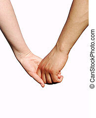 hand in hand - Hand in hand on white