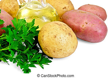 Potatoes red and yellow  with parsley and oil
