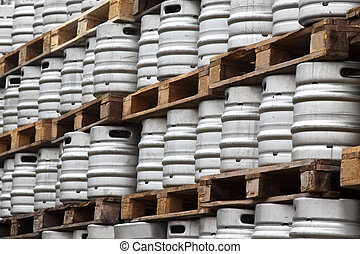 Many metal kegs of beer - Many metal kegs of beer in regular...